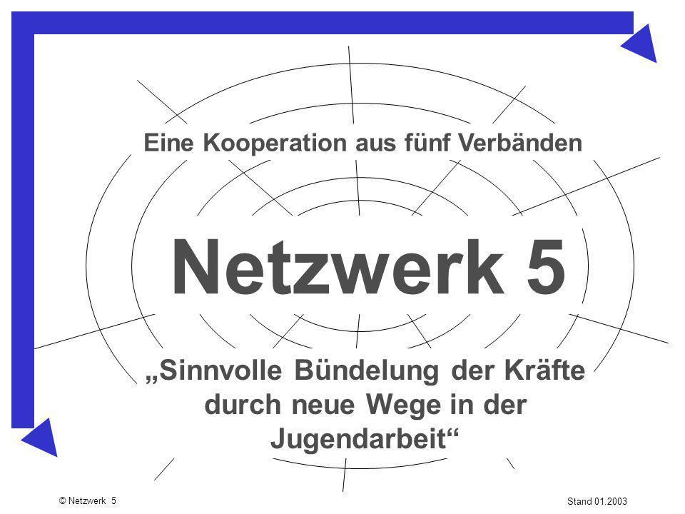 """© Netzwerk 5 Stand 01.2003 Netzwerk 5 """"Sinnvolle Bündelung der Kräfte durch neue Wege in der Jugendarbeit"""" Eine Kooperation aus fünf Verbänden"""