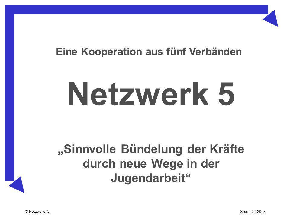 """© Netzwerk 5 Stand 01.2003 Netzwerk 5 Eine Kooperation aus fünf Verbänden """"Sinnvolle Bündelung der Kräfte durch neue Wege in der Jugendarbeit"""""""