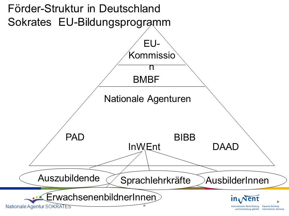 2 Nationale Agentur SOKRATES Förder-Struktur in Deutschland Sokrates EU-Bildungsprogramm EU- Kommissio n BMBF Nationale Agenturen PAD DAADInWEnt Auszubildende AusbilderInnenSprachlehrkräfte BIBB ErwachsenenbildnerInnen