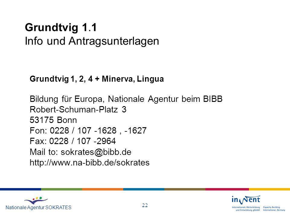 22 Grundtvig 1.1 Info und Antragsunterlagen Nationale Agentur SOKRATES Grundtvig 1, 2, 4 + Minerva, Lingua Bildung für Europa, Nationale Agentur beim BIBB Robert-Schuman-Platz 3 53175 Bonn Fon: 0228 / 107 -1628, -1627 Fax: 0228 / 107 -2964 Mail to: sokrates@bibb.de http://www.na-bibb.de/sokrates