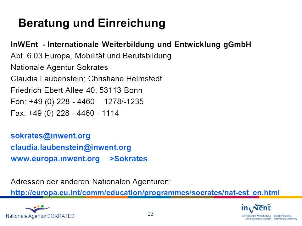 23 Beratung und Einreichung InWEnt - Internationale Weiterbildung und Entwicklung gGmbH Abt.