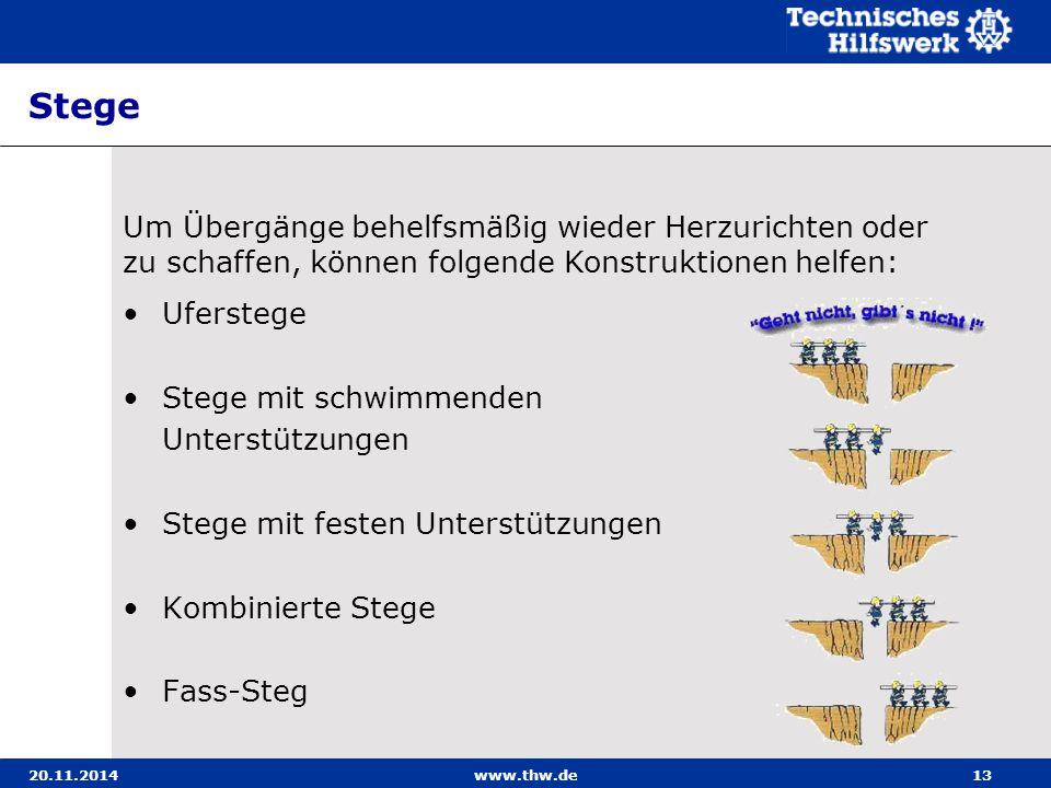 20.11.2014www.thw.de13 Stege Uferstege Stege mit schwimmenden Unterstützungen Stege mit festen Unterstützungen Kombinierte Stege Fass-Steg Um Übergäng