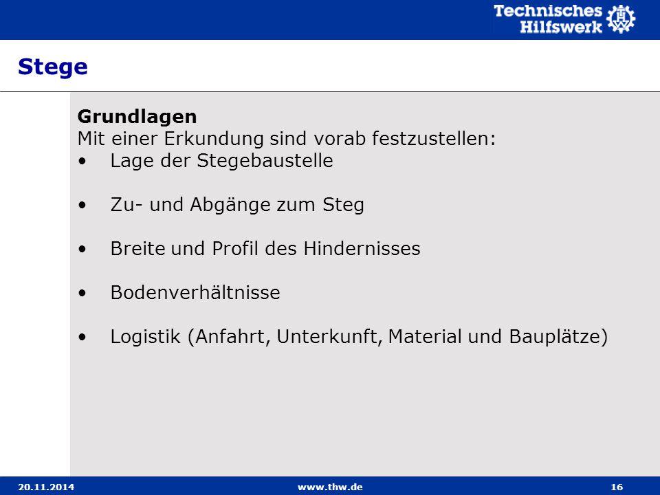 20.11.2014www.thw.de16 Stege Grundlagen Mit einer Erkundung sind vorab festzustellen: Lage der Stegebaustelle Zu- und Abgänge zum Steg Breite und Prof