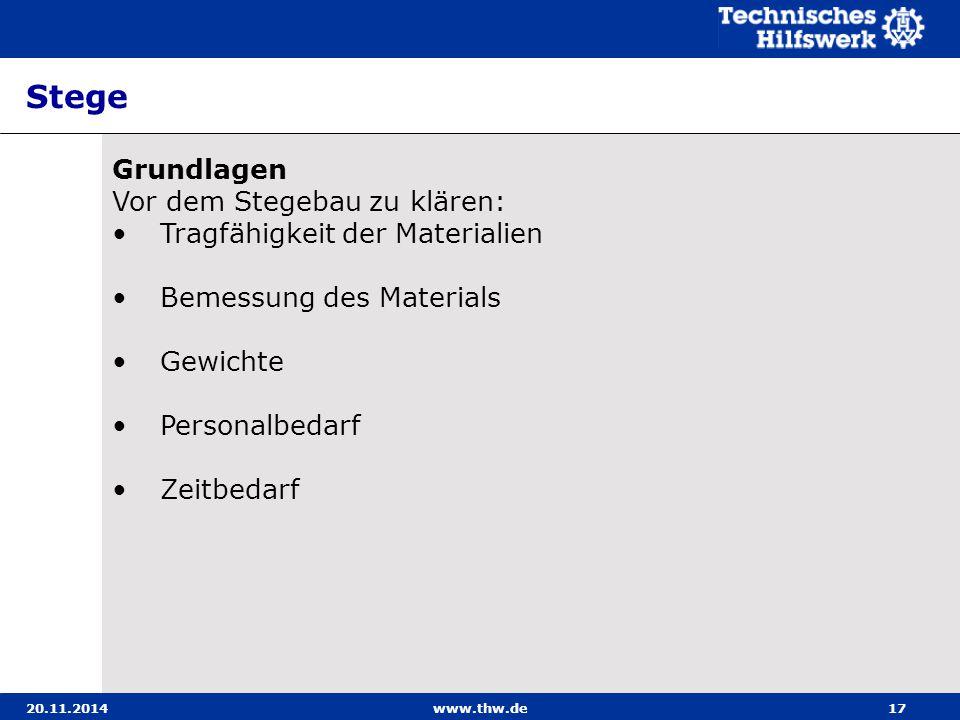 20.11.2014www.thw.de17 Stege Grundlagen Vor dem Stegebau zu klären: Tragfähigkeit der Materialien Bemessung des Materials Gewichte Personalbedarf Zeit