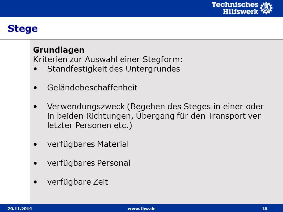 20.11.2014www.thw.de18 Stege Grundlagen Kriterien zur Auswahl einer Stegform: Standfestigkeit des Untergrundes Geländebeschaffenheit Verwendungszweck