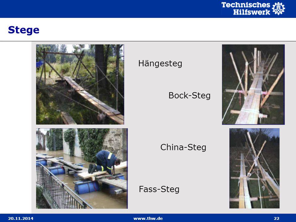 20.11.2014www.thw.de22 Stege Hängesteg Fass-Steg China-Steg Bock-Steg