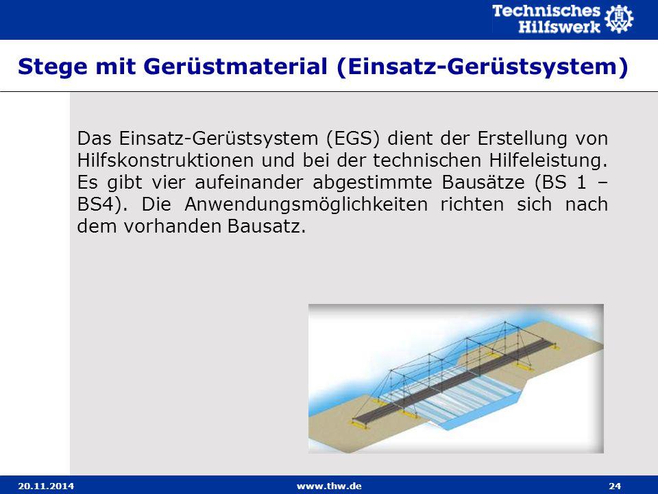 20.11.2014www.thw.de24 Stege mit Gerüstmaterial (Einsatz-Gerüstsystem) Das Einsatz-Gerüstsystem (EGS) dient der Erstellung von Hilfskonstruktionen und