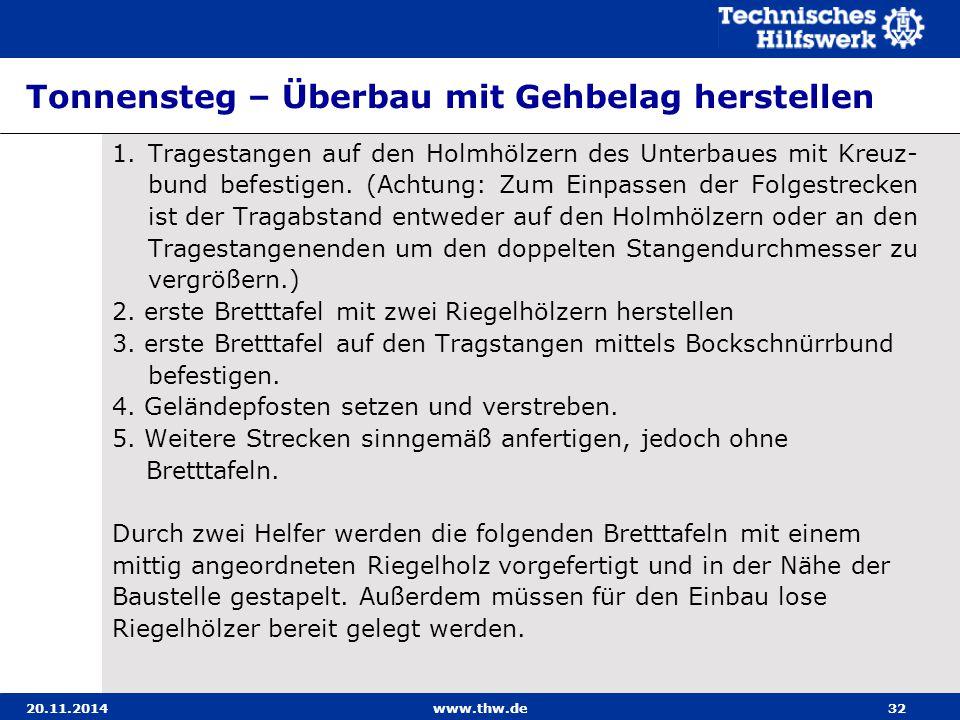 20.11.2014www.thw.de32 Tonnensteg – Überbau mit Gehbelag herstellen 1. Tragestangen auf den Holmhölzern des Unterbaues mit Kreuz- bund befestigen. (Ac