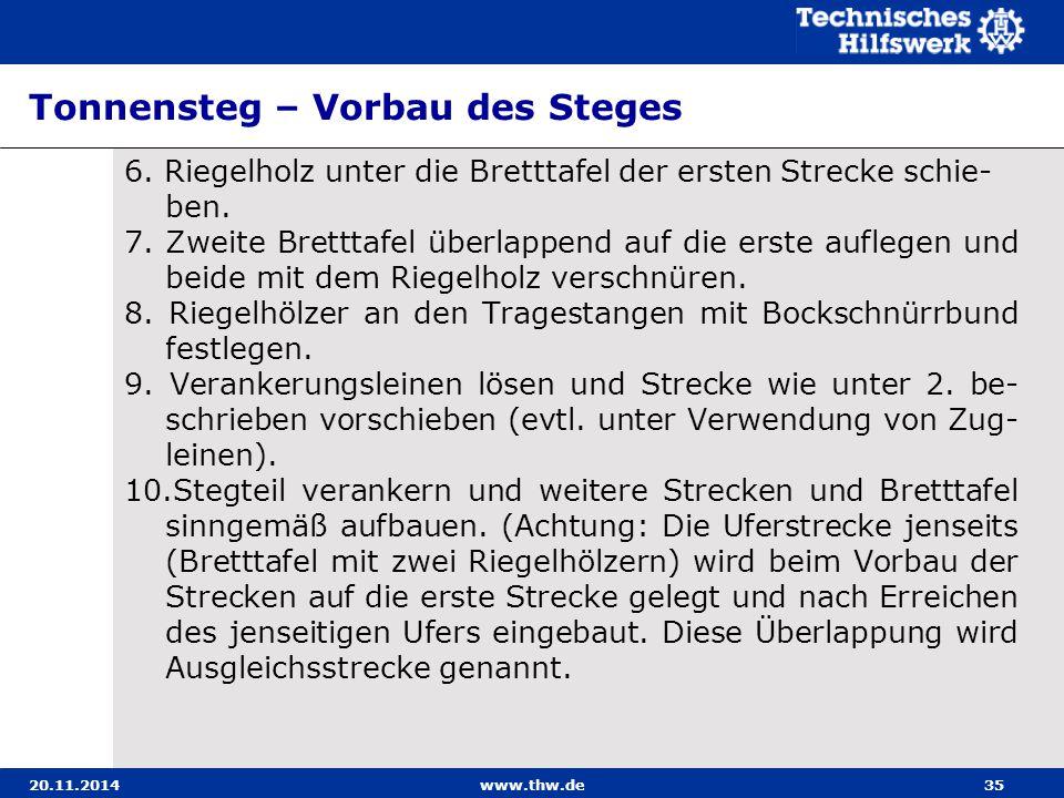 20.11.2014www.thw.de35 Tonnensteg – Vorbau des Steges 6. Riegelholz unter die Bretttafel der ersten Strecke schie- ben. 7. Zweite Bretttafel überlappe