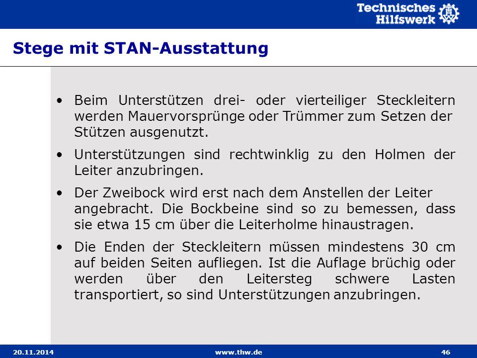 20.11.2014www.thw.de46 Stege mit STAN-Ausstattung Beim Unterstützen drei- oder vierteiliger Steckleitern werden Mauervorsprünge oder Trümmer zum Setze