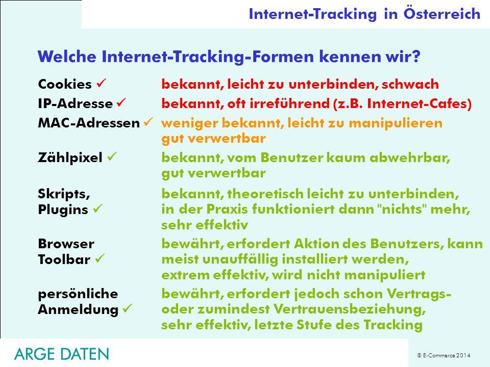 © E-Commerce 2014 ARGE DATEN Welche Internet-Tracking-Formen kennen wir.