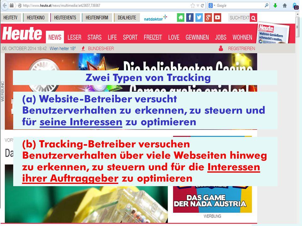 © E-Commerce 2014 Zwei Typen von Tracking (a) Website-Betreiber versucht Benutzerverhalten zu erkennen, zu steuern und für seine Interessen zu optimie