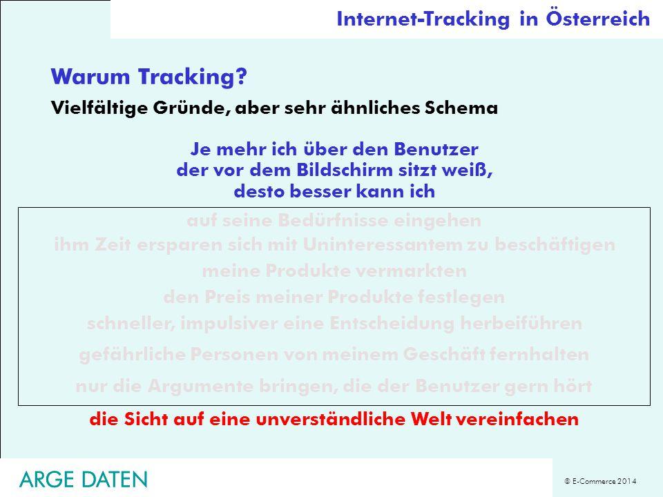 © E-Commerce 2014 ARGE DATEN Warum Tracking? Vielfältige Gründe, aber sehr ähnliches Schema Je mehr ich über den Benutzer der vor dem Bildschirm sitzt