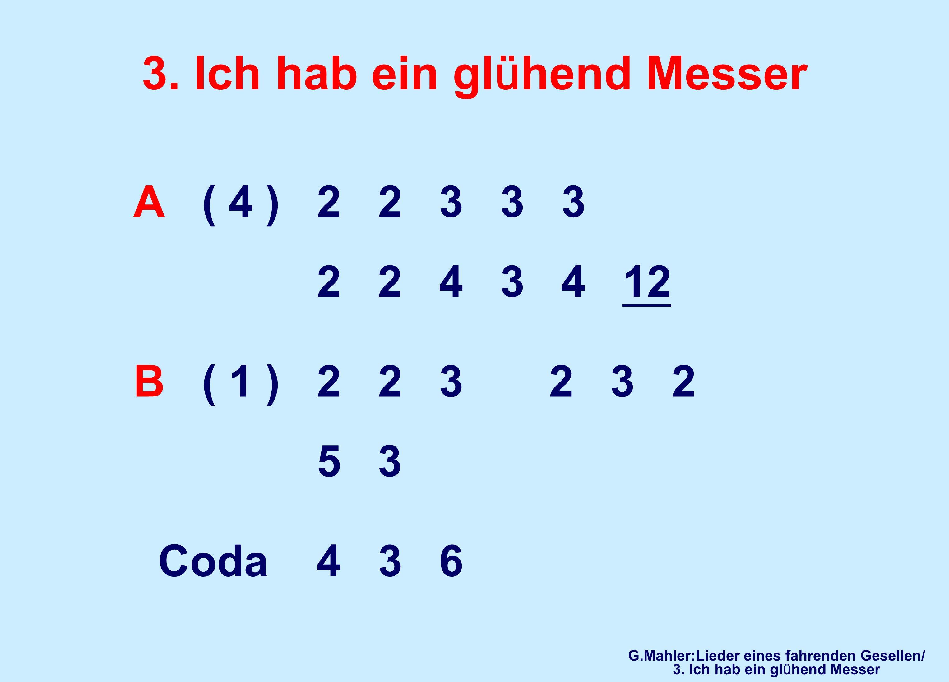 3. Ich hab ein glühend Messer A ( 4 ) 2 2 3 3 3 2 2 4 3 4 12 B ( 1 ) 2 2 3 2 3 2 5 3 Coda 4 3 6 G.Mahler:Lieder eines fahrenden Gesellen/ 3. Ich hab e