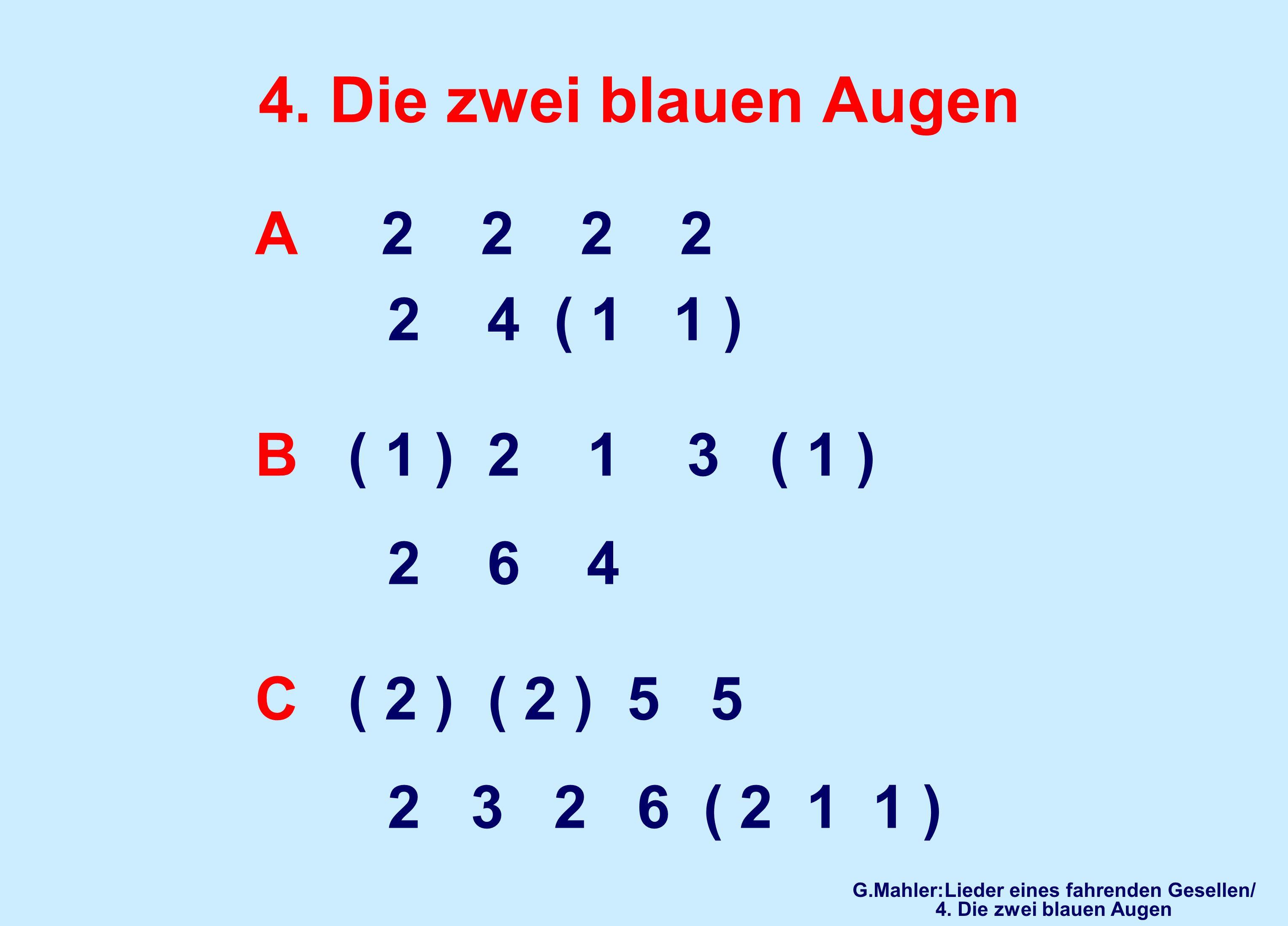 4. Die zwei blauen Augen A 2 2 2 2 2 4 ( 1 1 ) B ( 1 ) 2 1 3 ( 1 ) 2 6 4 C ( 2 ) ( 2 ) 5 5 2 3 2 6 ( 2 1 1 ) G.Mahler:Lieder eines fahrenden Gesellen/