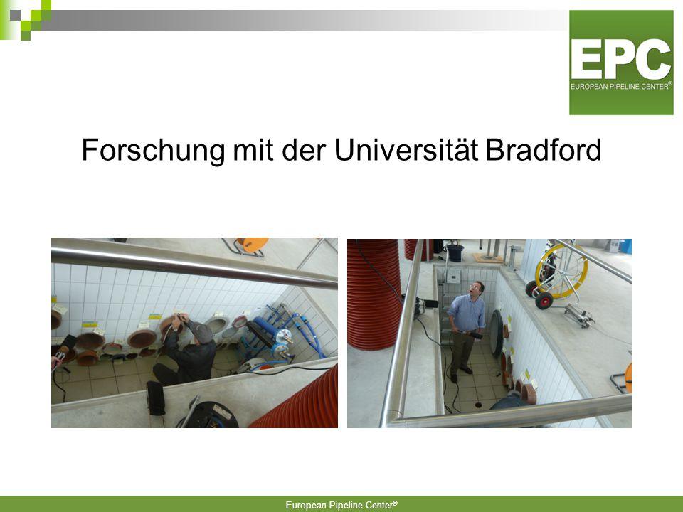 European Pipeline Center ®  Pipe –Inspector Kabellose TV Inspektion von Druckrohrleitungen  Spülkonzepte für Tunneldrainagen (IRO, Fränkische Rohrwe