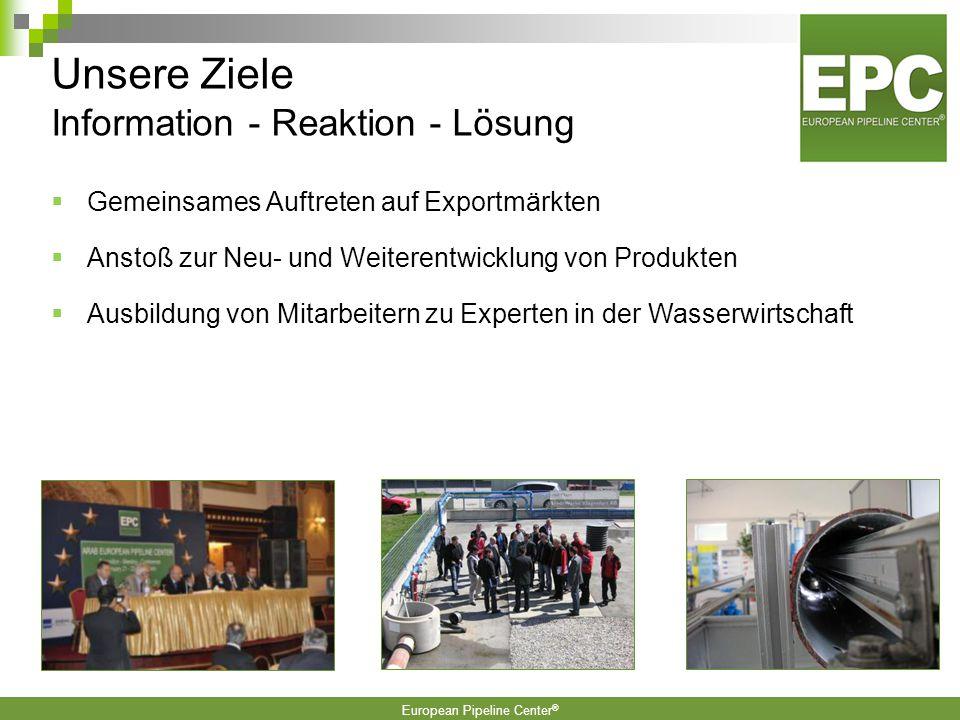 European Pipeline Center ®  Gemeinsames Auftreten auf Exportmärkten  Anstoß zur Neu- und Weiterentwicklung von Produkten  Ausbildung von Mitarbeitern zu Experten in der Wasserwirtschaft Unsere Ziele Information - Reaktion - Lösung