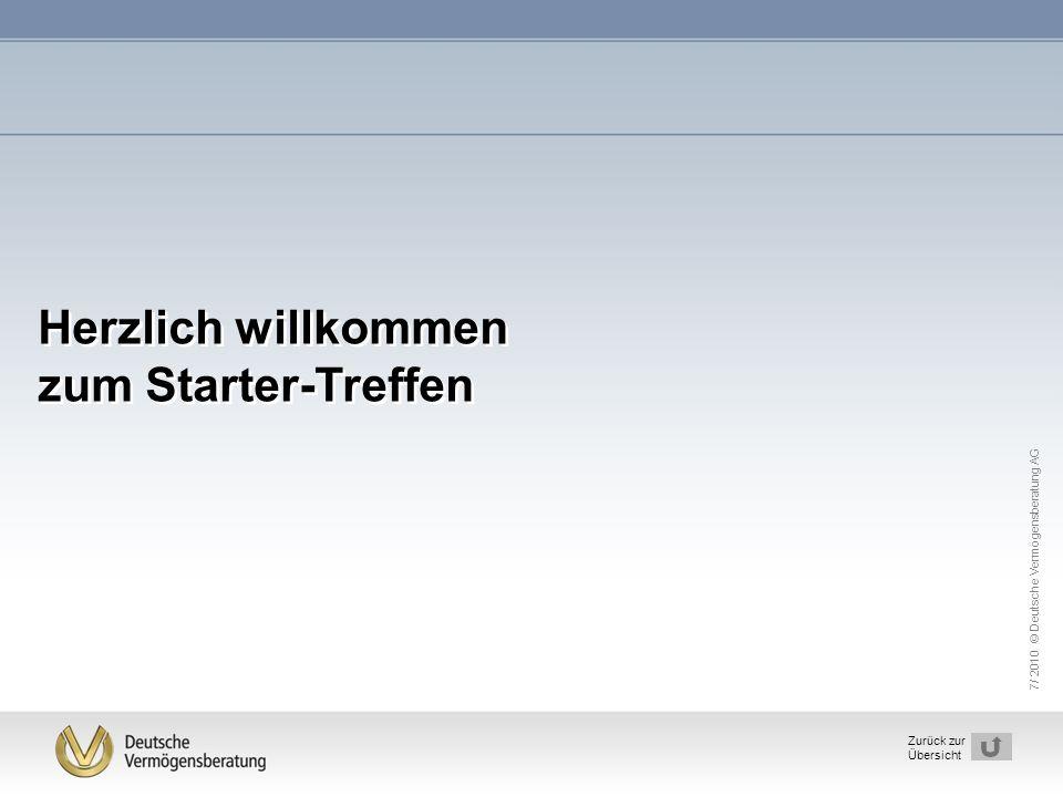7/ 2010 © Deutsche Vermögensberatung AG 1 Zurück zur Übersicht Herzlich willkommen zum Starter-Treffen