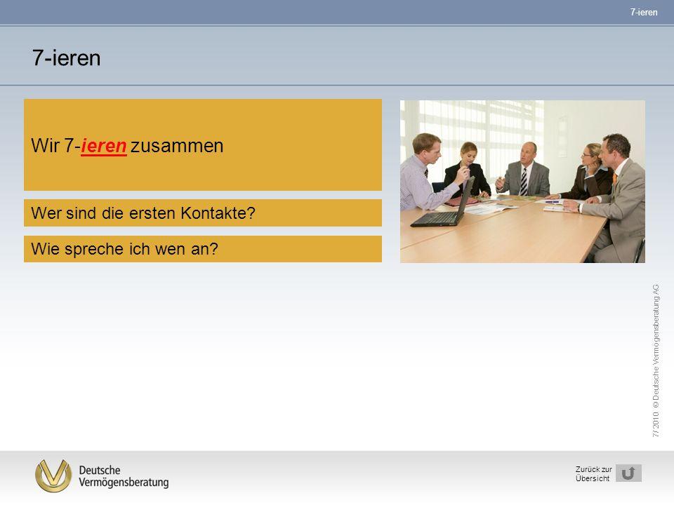 7/ 2010 © Deutsche Vermögensberatung AG 10 Zurück zur Übersicht 7-ieren Wer sind die ersten Kontakte? Wir 7-ieren zusammen Wie spreche ich wen an? 7-i