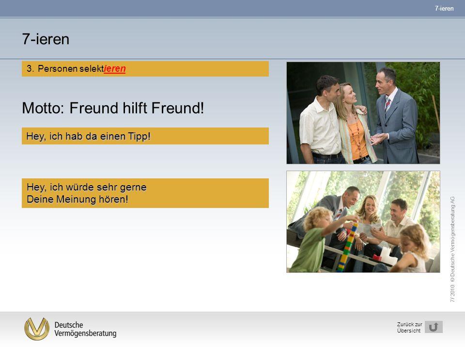7/ 2010 © Deutsche Vermögensberatung AG 14 Zurück zur Übersicht Motto: Freund hilft Freund! Hey, ich hab da einen Tipp! Hey, ich würde sehr gerne Dein