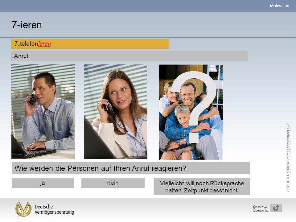 7/ 2010 © Deutsche Vermögensberatung AG 29 Zurück zur Übersicht Wie werden die Personen auf Ihren Anruf reagieren? 7-ieren 7.telefonieren ? janein Vie