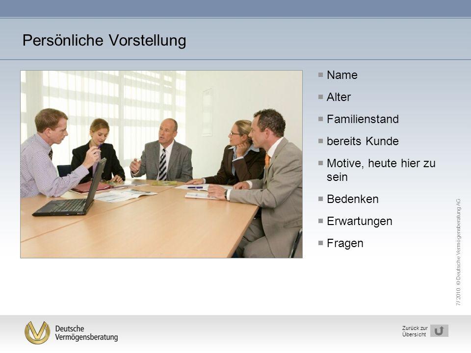7/ 2010 © Deutsche Vermögensberatung AG 3 Zurück zur Übersicht Persönliche Vorstellung  Name  Alter  Familienstand  bereits Kunde  Motive, heute