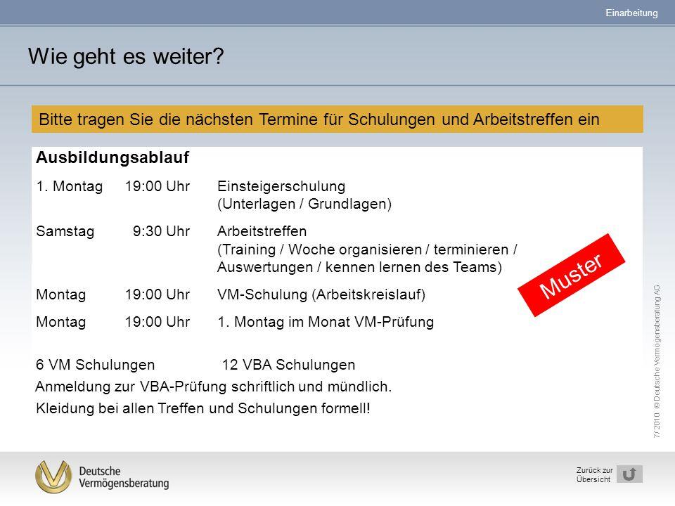 7/ 2010 © Deutsche Vermögensberatung AG 34 Zurück zur Übersicht Bitte tragen Sie die nächsten Termine für Schulungen und Arbeitstreffen ein Wie geht e
