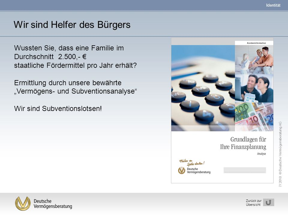 7/ 2010 © Deutsche Vermögensberatung AG 9 Zurück zur Übersicht Wir sind Helfer des Bürgers Wussten Sie, dass eine Familie im Durchschnitt 2.500,- € st