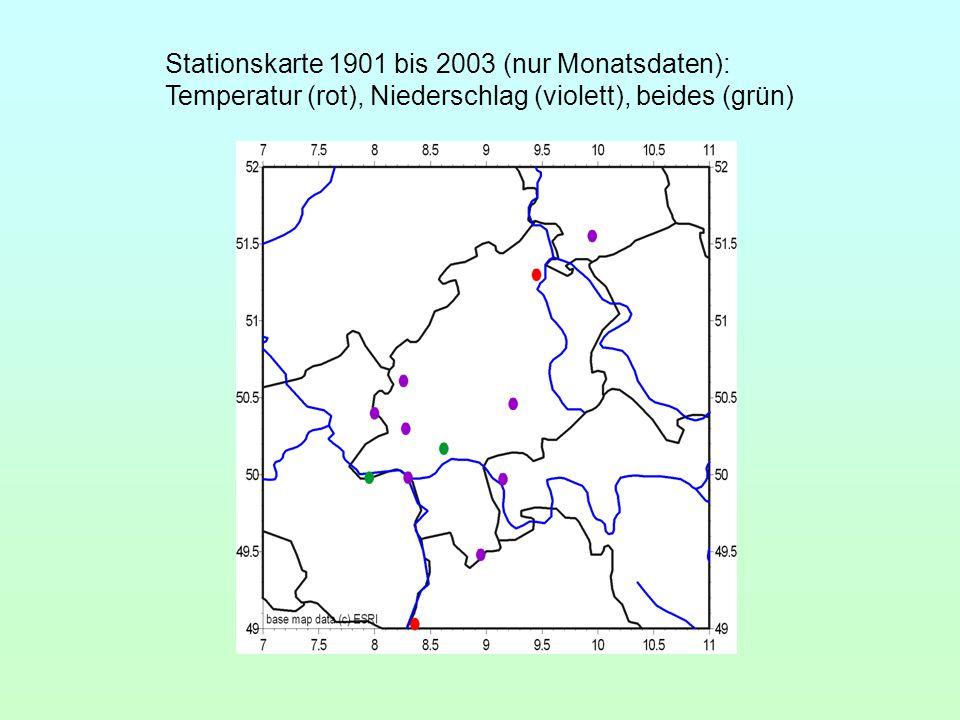 Stationskarte 1901 bis 2003 (nur Monatsdaten): Temperatur (rot), Niederschlag (violett), beides (grün)