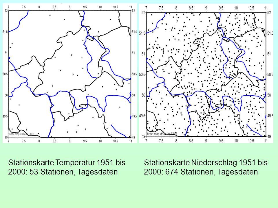 Stationskarte Temperatur 1951 bis 2000: 53 Stationen, Tagesdaten Stationskarte Niederschlag 1951 bis 2000: 674 Stationen, Tagesdaten