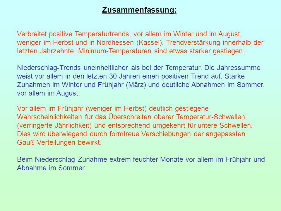 Zusammenfassung: Verbreitet positive Temperaturtrends, vor allem im Winter und im August, weniger im Herbst und in Nordhessen (Kassel). Trendverstärku