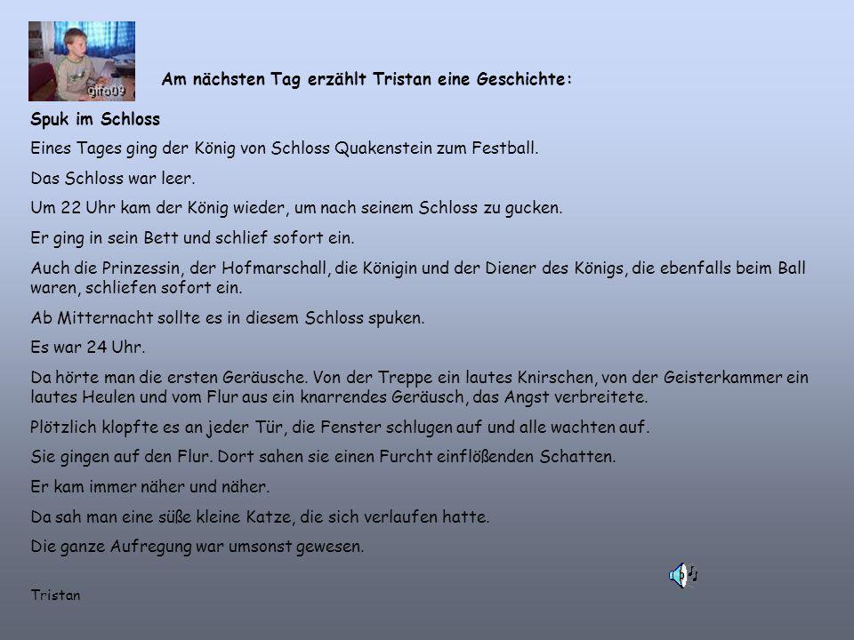 Am nächsten Tag erzählt Tristan eine Geschichte: Spuk im Schloss Eines Tages ging der König von Schloss Quakenstein zum Festball.