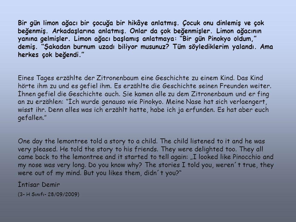 Bir gün limon ağacı bir çocuğa bir hikâye anlatmış.