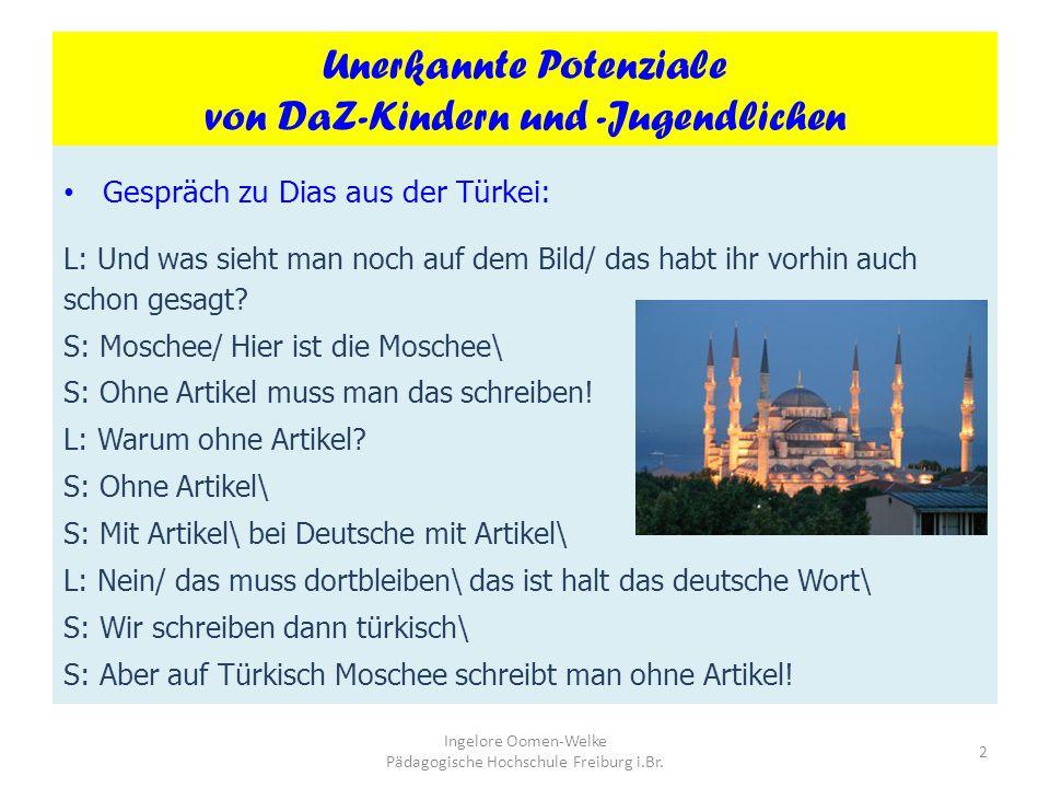 Jahrestagung für Lehrpersonen DaZ am 3. Mai 2012 1 Ingelore Oomen-Welke Pädagogische Hochschule Freiburg i.Br. Deutsch als Zweitsprache: Erste Schritt