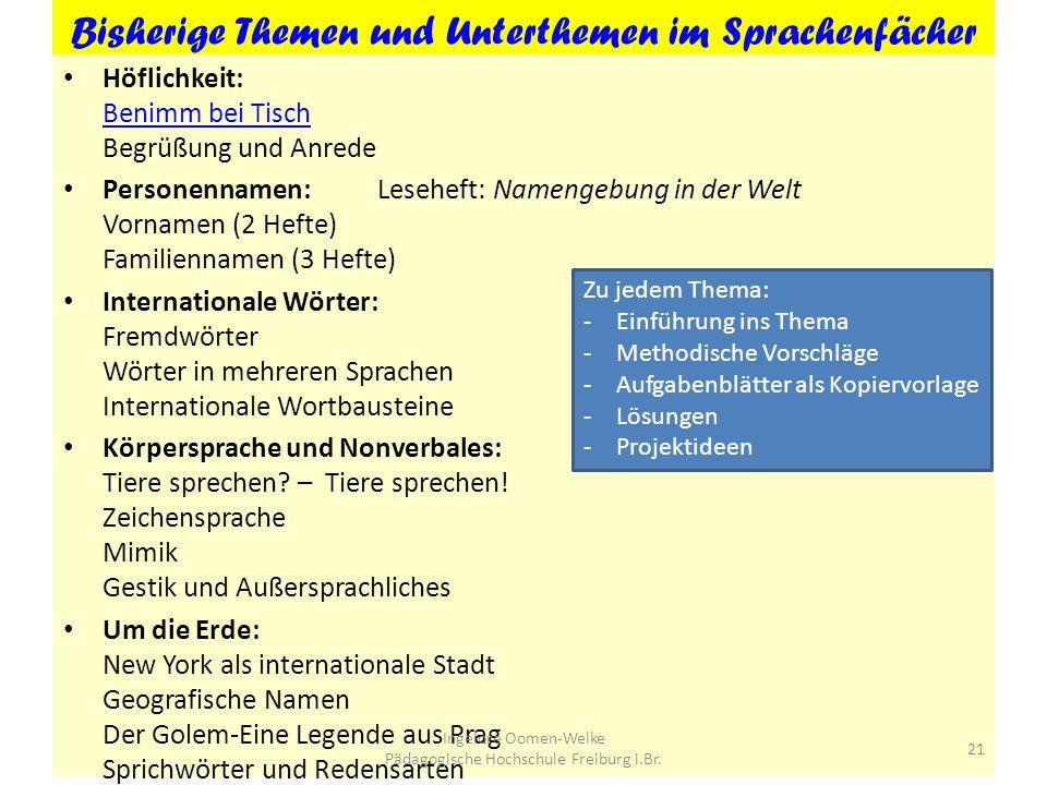 I. Oomen-Welke (Hrsg.): Der Sprachenfächer. Materialien für den interkulturellen DU in der Sek I. Berlin: Cornelsen, ab 2010 auf der Basis des Comeniu