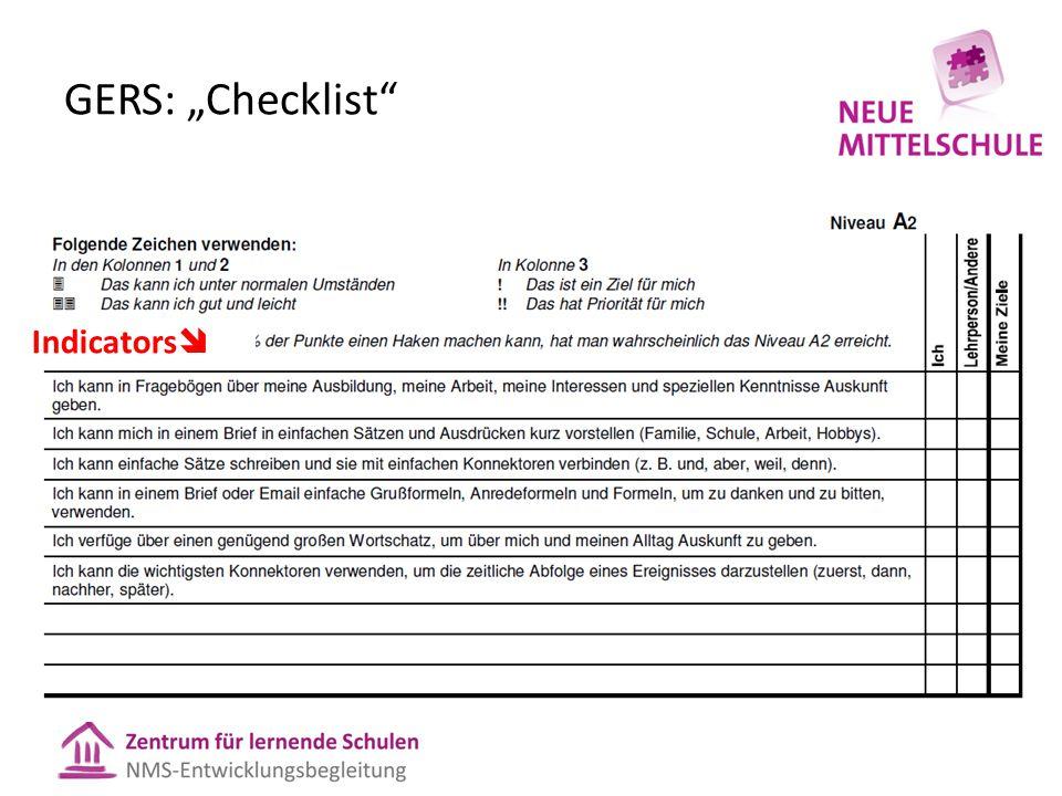 "GERS: ""Checklist"" Indicators "