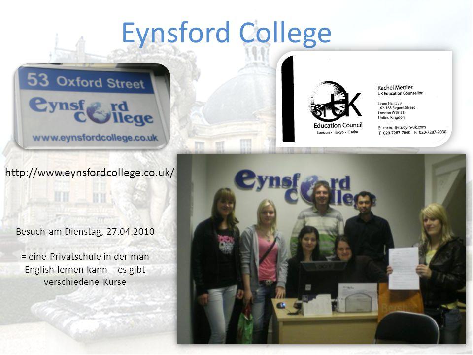 Auswertung Eynsfod College Ph: 0207 734 1722 Fax: 0207 287 5366 Email: info@eynsfordcollege.co.uk