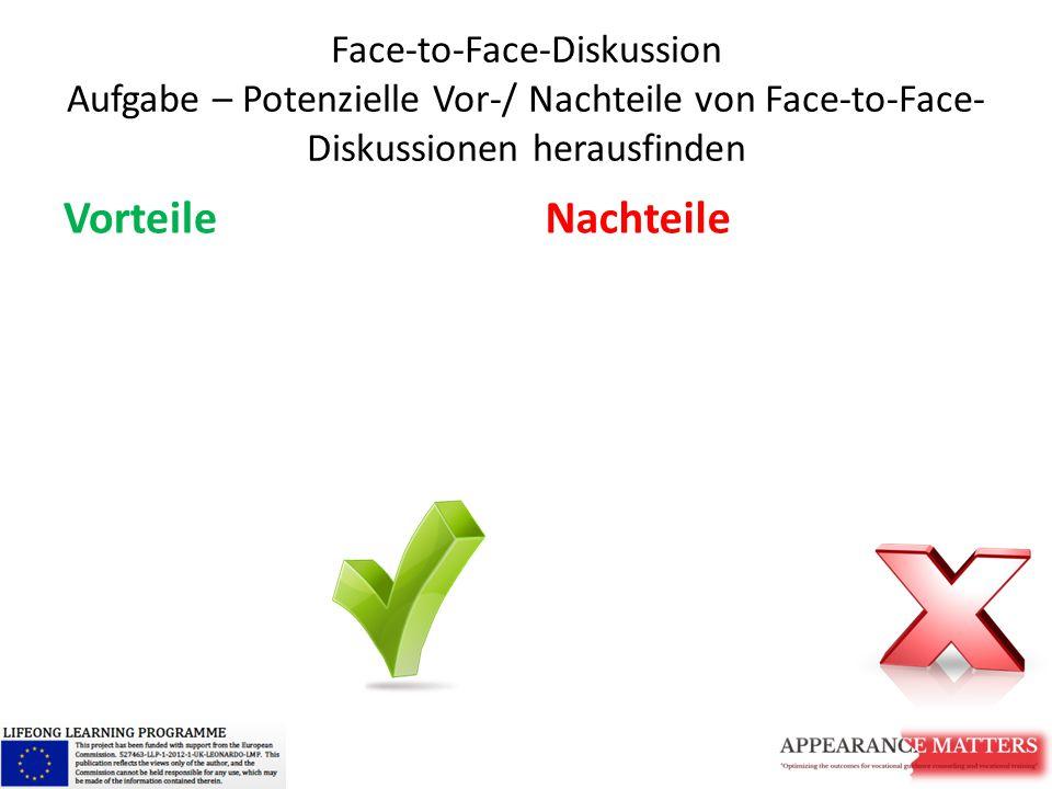Face-to-Face-Diskussion Aufgabe – Potenzielle Vor-/ Nachteile von Face-to-Face- Diskussionen herausfinden VorteileNachteile