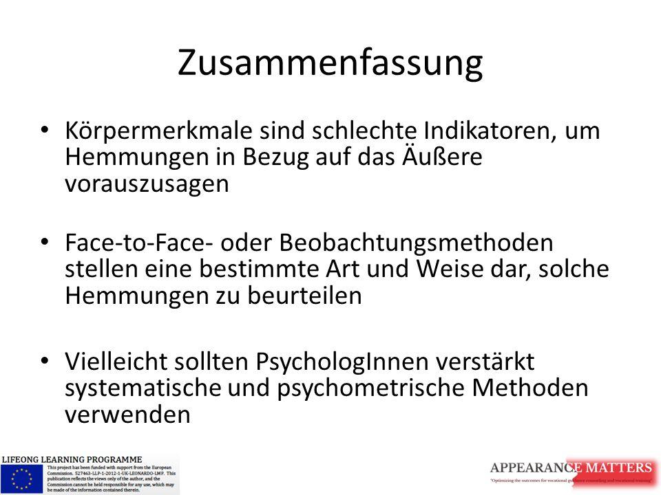 Zusammenfassung Körpermerkmale sind schlechte Indikatoren, um Hemmungen in Bezug auf das Äußere vorauszusagen Face-to-Face- oder Beobachtungsmethoden