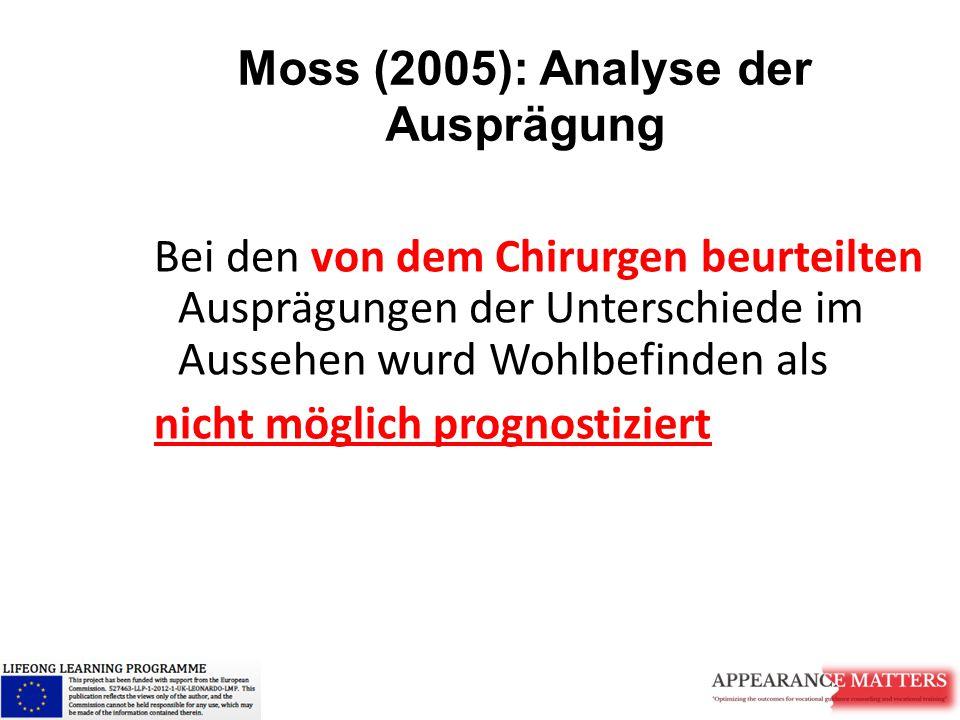 Moss (2005): Analyse der Ausprägung Bei den von dem Chirurgen beurteilten Ausprägungen der Unterschiede im Aussehen wurd Wohlbefinden als nicht möglic
