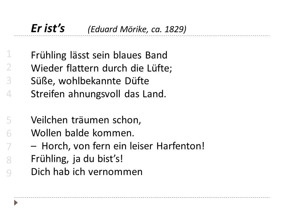 Er ist's (Eduard Mörike, ca. 1829) Frühling lässt sein blaues Band Wieder flattern durch die Lüfte; Süße, wohlbekannte Düfte Streifen ahnungsvoll das