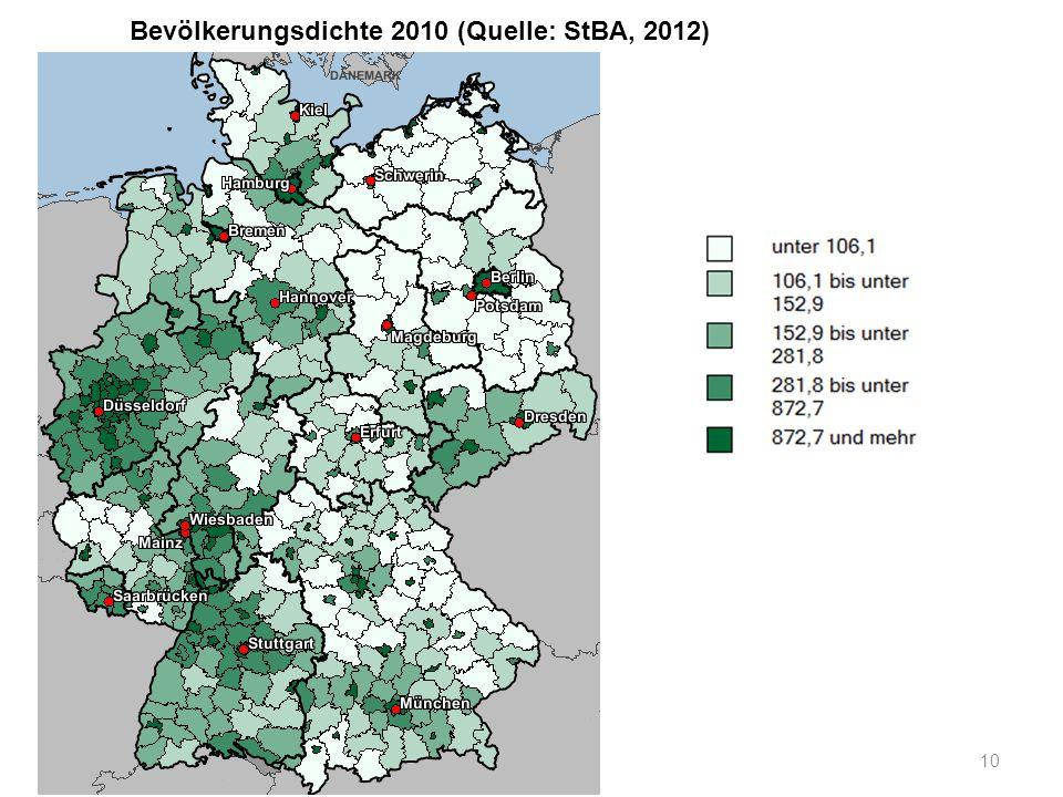 Bevölkerungsdichte 2010 (Quelle: StBA, 2012) 10