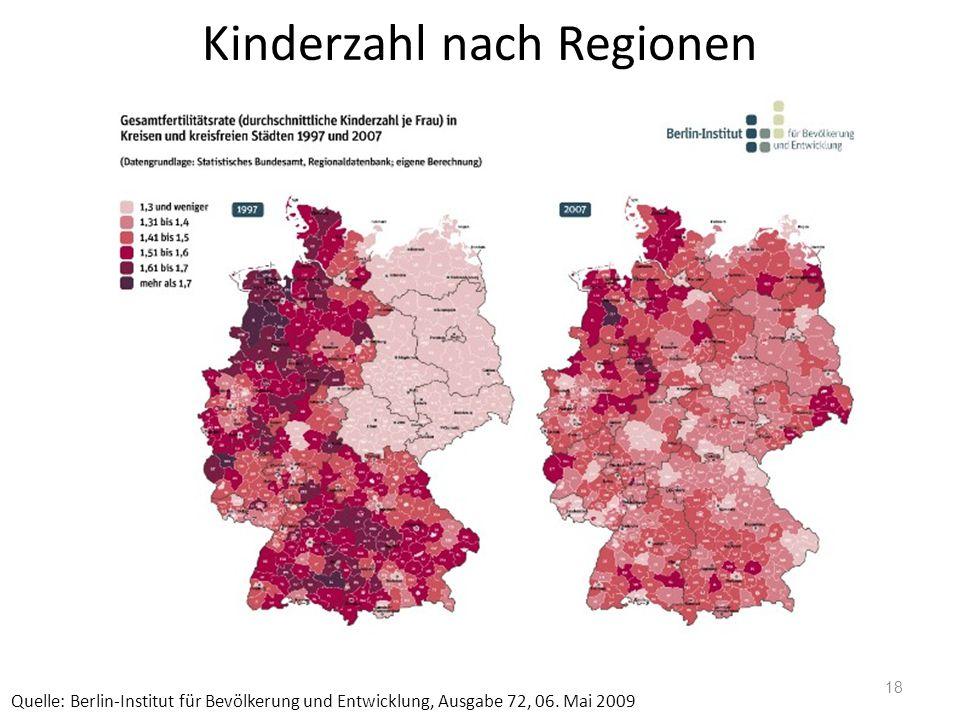 Kinderzahl nach Regionen Quelle: Berlin-Institut für Bevölkerung und Entwicklung, Ausgabe 72, 06. Mai 2009 18
