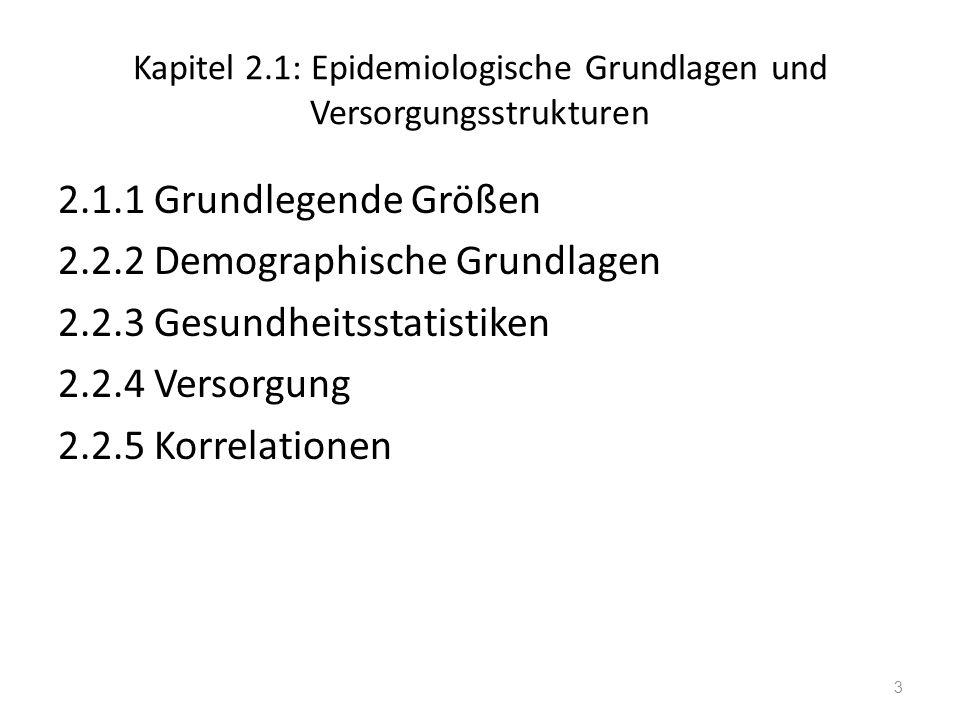 Kapitel 2.1: Epidemiologische Grundlagen und Versorgungsstrukturen 2.1.1 Grundlegende Größen 2.2.2 Demographische Grundlagen 2.2.3 Gesundheitsstatisti