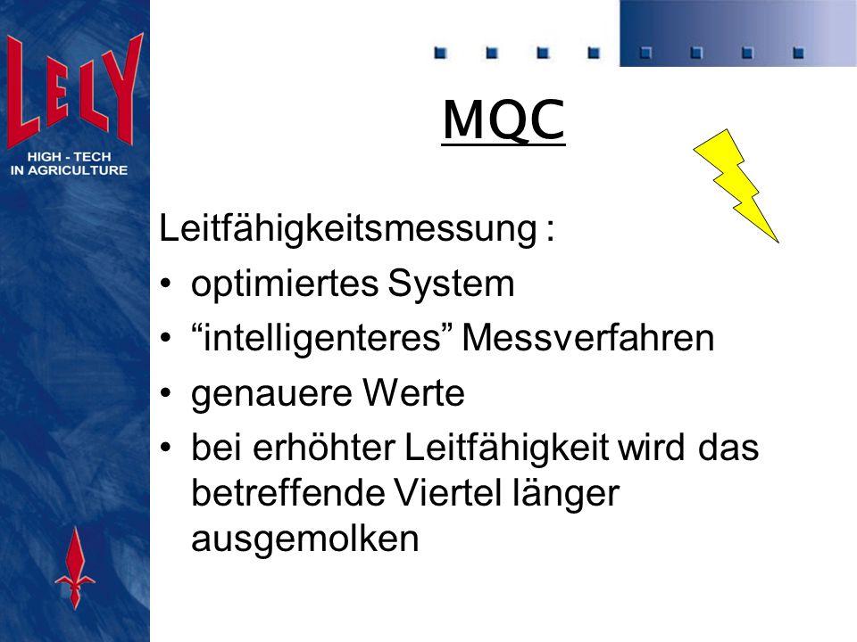 MQC Milchflußmessung : Abnahme des Zitzenbechers basiert auf dem Muster des Milchflussprofils jedes einzelnen Viertels, statt einem festen Wert für die ganze Herde
