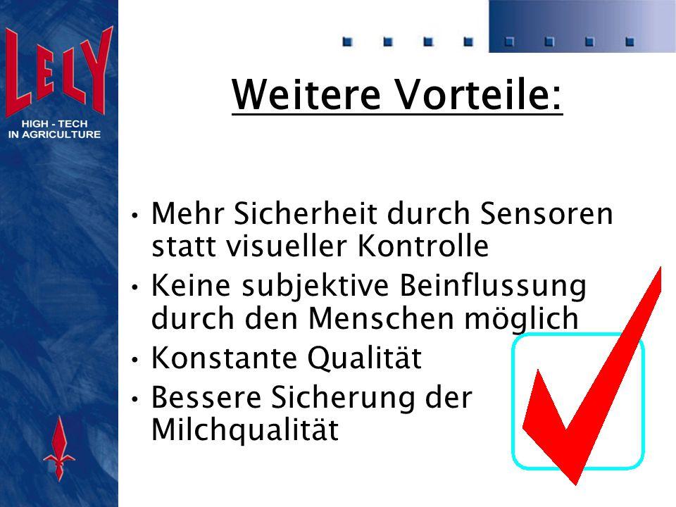 Weitere Vorteile: Mehr Sicherheit durch Sensoren statt visueller Kontrolle Keine subjektive Beinflussung durch den Menschen möglich Konstante Qualität