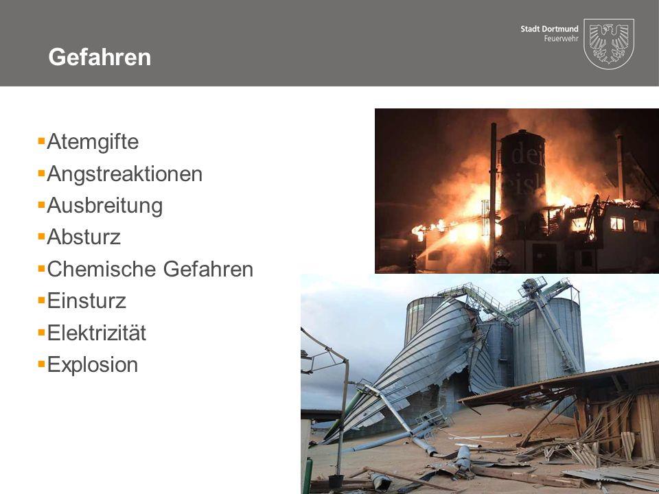 10 06.10.14 08:35 Gefahren - Atemgifte  Brandrauch  Gase durch Produktzersetzung  Inertgas  Atemschutz  Gefahrenbereich absperren  Messungen auch Außerhalb