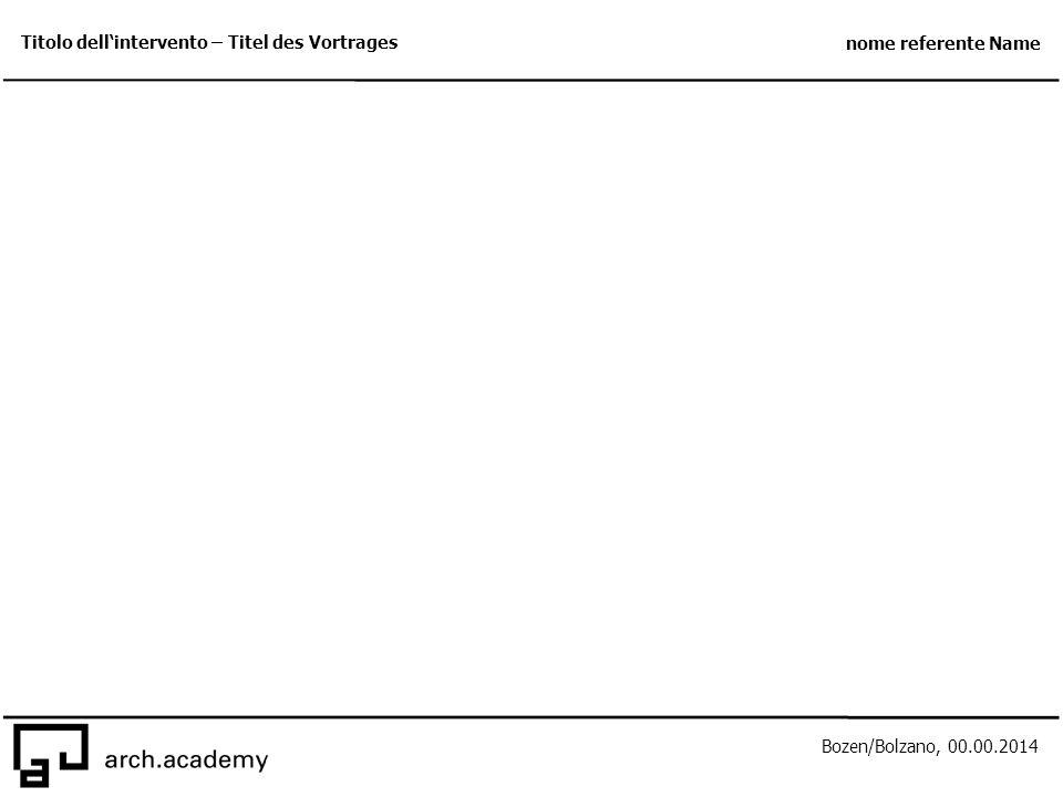 Bozen/Bolzano, 00.00.2014 Titolo dell'intervento – Titel des Vortrages nome referente Name