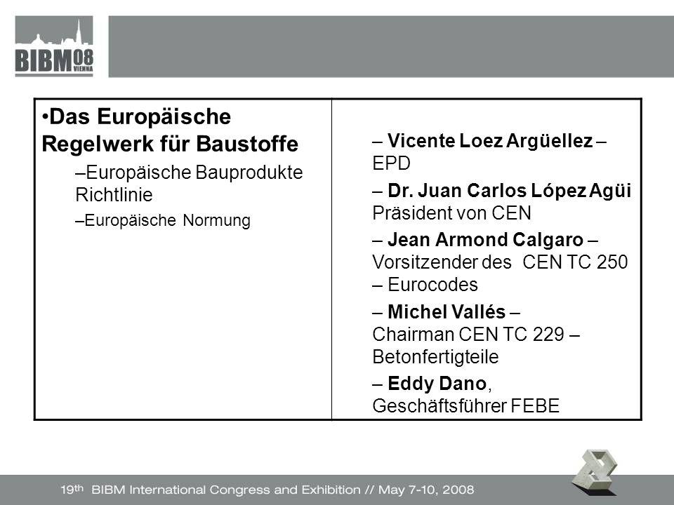 Das Europäische Regelwerk für Baustoffe –Europäische Bauprodukte Richtlinie –Europäische Normung – Vicente Loez Argüellez – EPD – Dr.