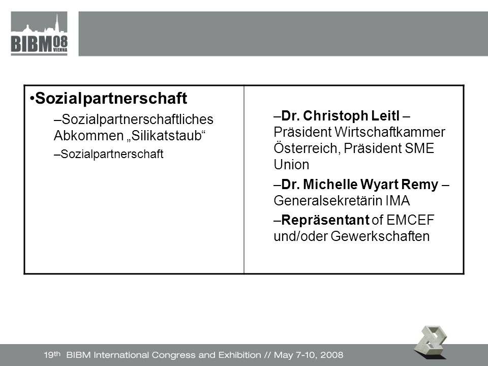 """Sozialpartnerschaft –Sozialpartnerschaftliches Abkommen """"Silikatstaub –Sozialpartnerschaft –Dr."""